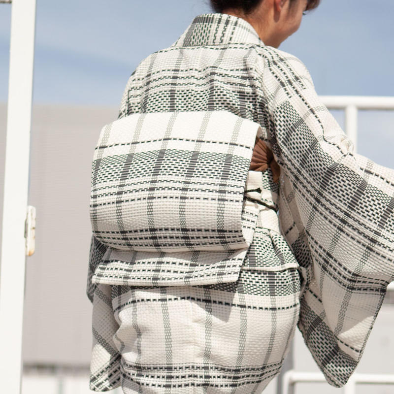 お太鼓作り帯 / カラミ織りチェック×ブラック