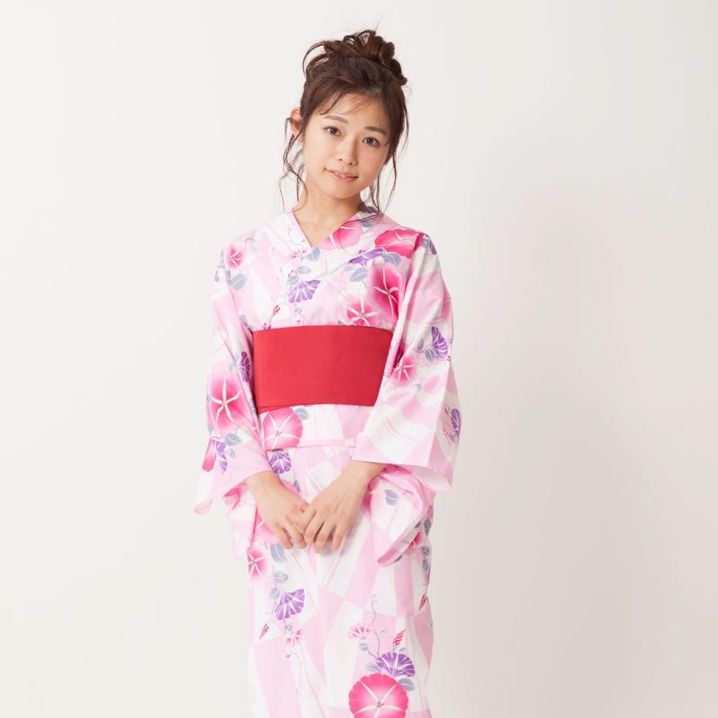 10秒浴衣&帯の2点セット / 朝顔×ピンク