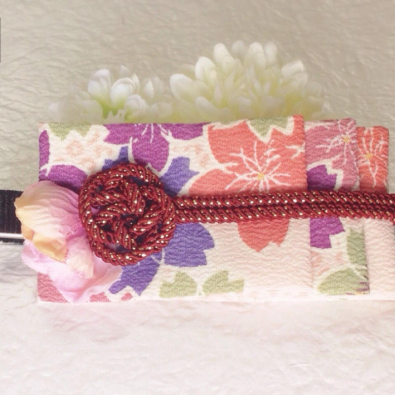 着物地のヘアクリップ(彩):桜模様