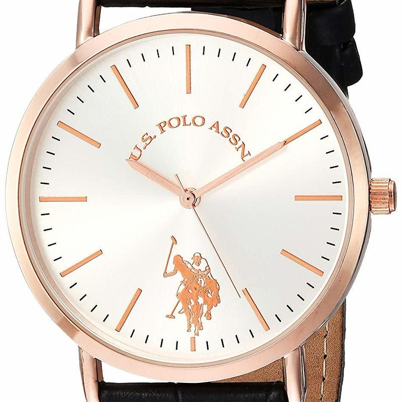 U.S. Polo Assn.USポロ レディース腕時計 Leather-Synthetic Strap, Pink, 20