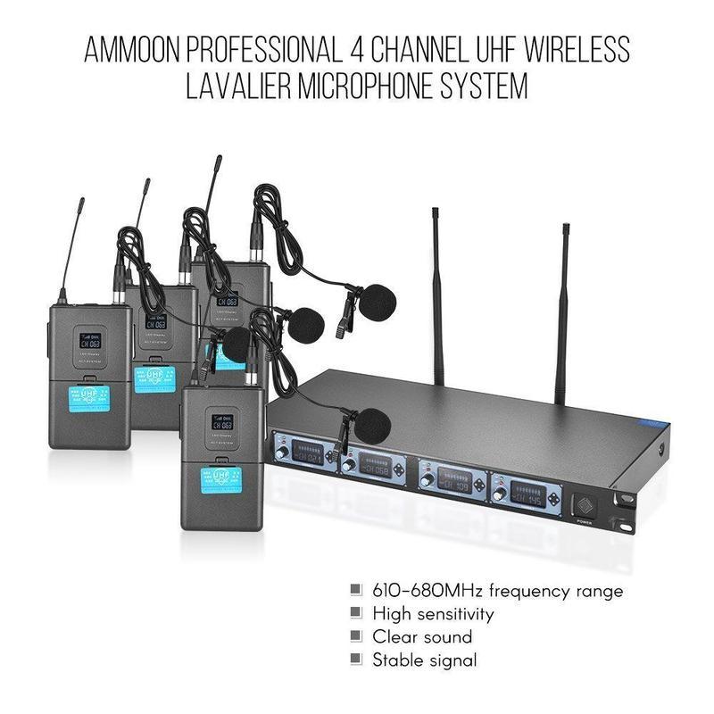 ammoon 4S 4チャンネルUHF ワイヤレスラペルクリップオンマイクシステム 4マイク+1受信機