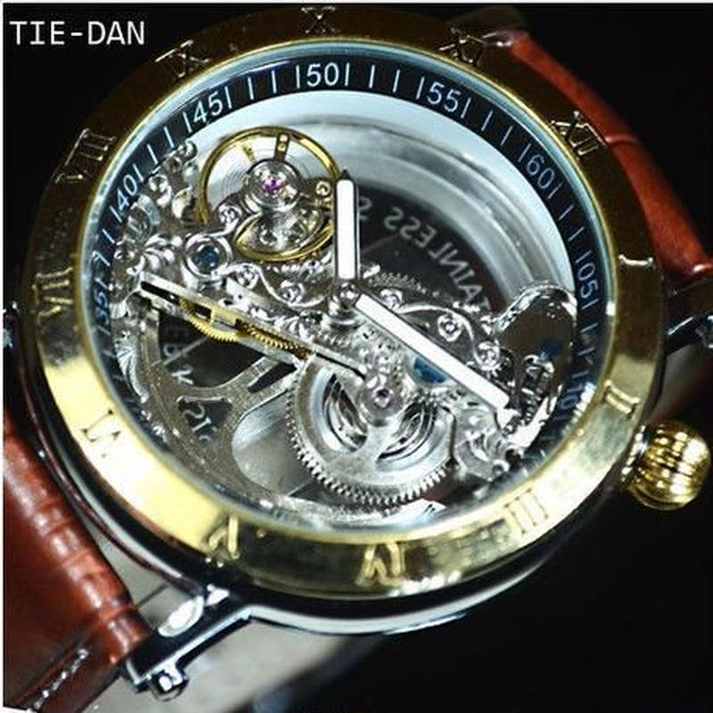 TIEDAN  機械式上時計 自動巻 スケルトン トゥールビヨン メンズ腕時計 海外輸入品 ※カラーバリエーションあり