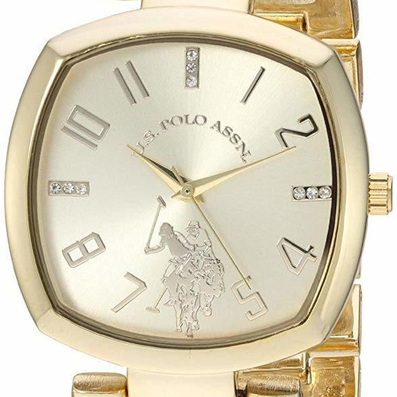 U.S. ポロ レディーズ腕時計 Analog-Quartz Watch with Alloy Strap, Gold, 11