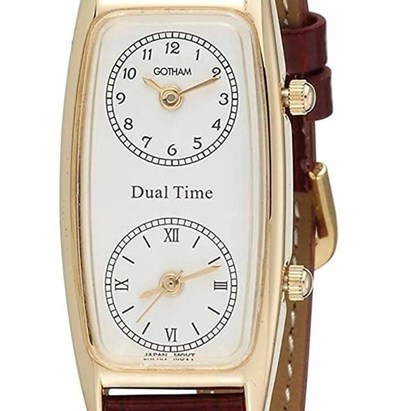 Gotham 腕時計 ブラウンレザー 革ベルト デュアルタイム レディース 【ゴッサム】