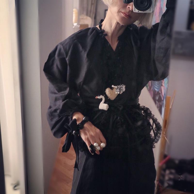 """Linen  Dress """"black """""""