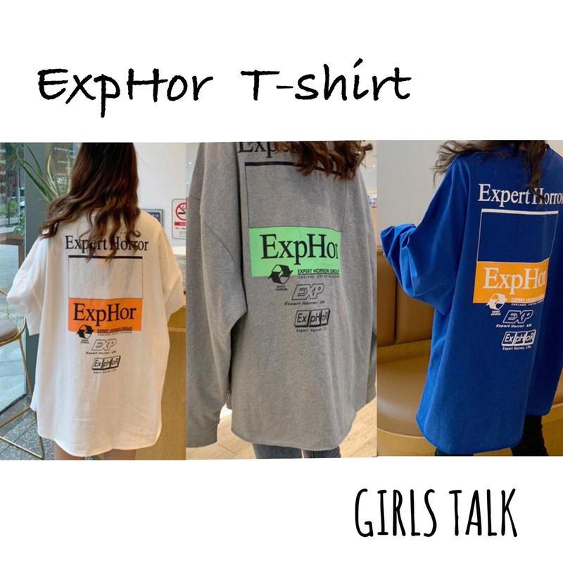 レディース ExpHor  切りっぱなしロングTシャツ