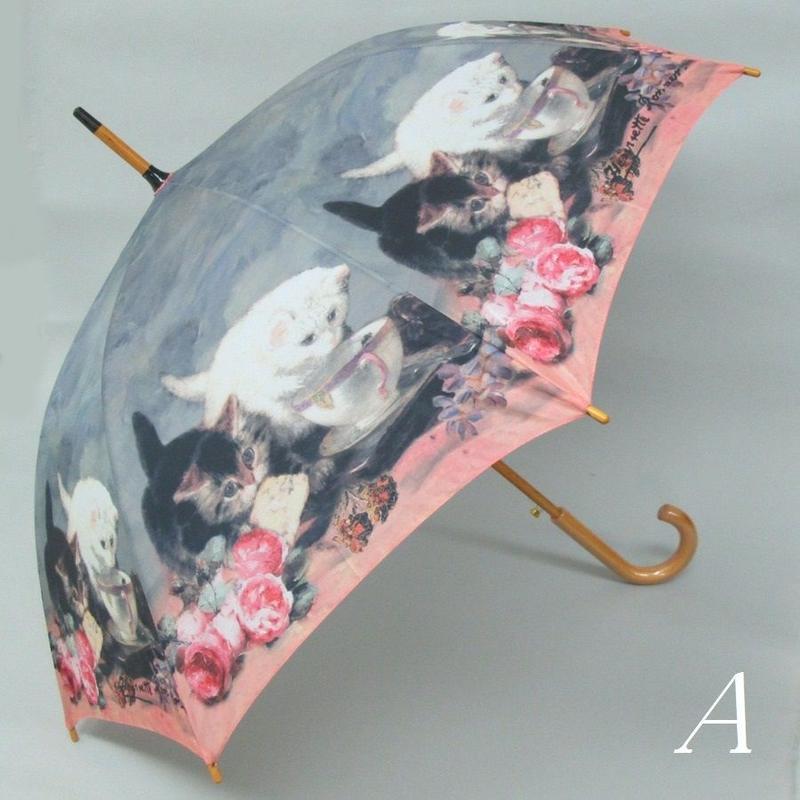 猫好きさんへのプレゼントに最適♪猫柄(=^▽^=)ジャンプ傘☆問屋直送品です。
