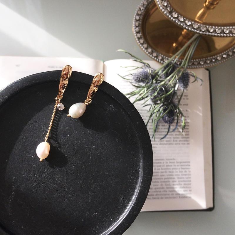 【Stick & freshwater pearl】ピアス