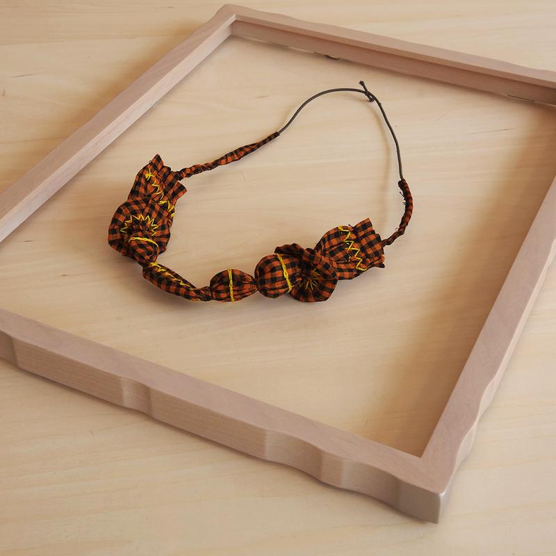 ハンドメイド刺繍ネックレス(オレンジ) NK-Orange002