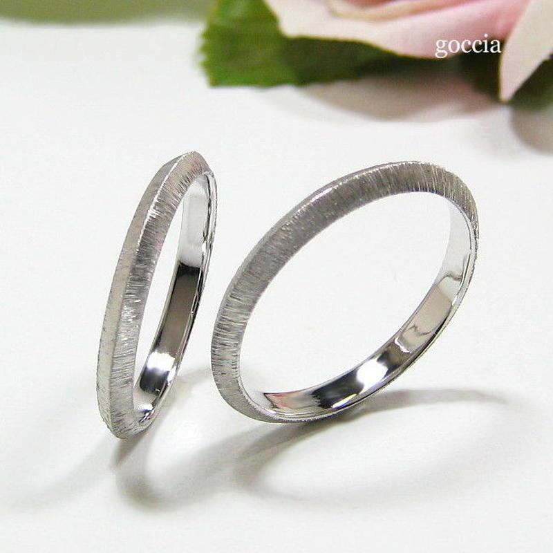 剣腕の結婚指輪、シルクサテン仕上げ(163-la、164-me)