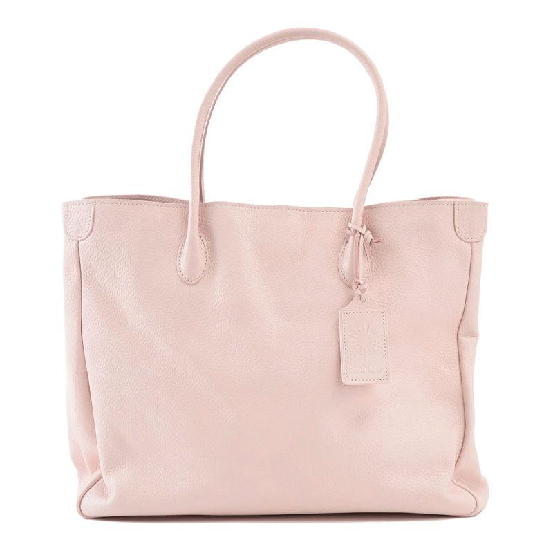 牛革製バッグ/オリビア ホワイトピンクL