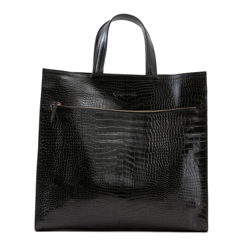 牛革製バッグ/ジェイコブ ブラック(クロコダイル型押し)