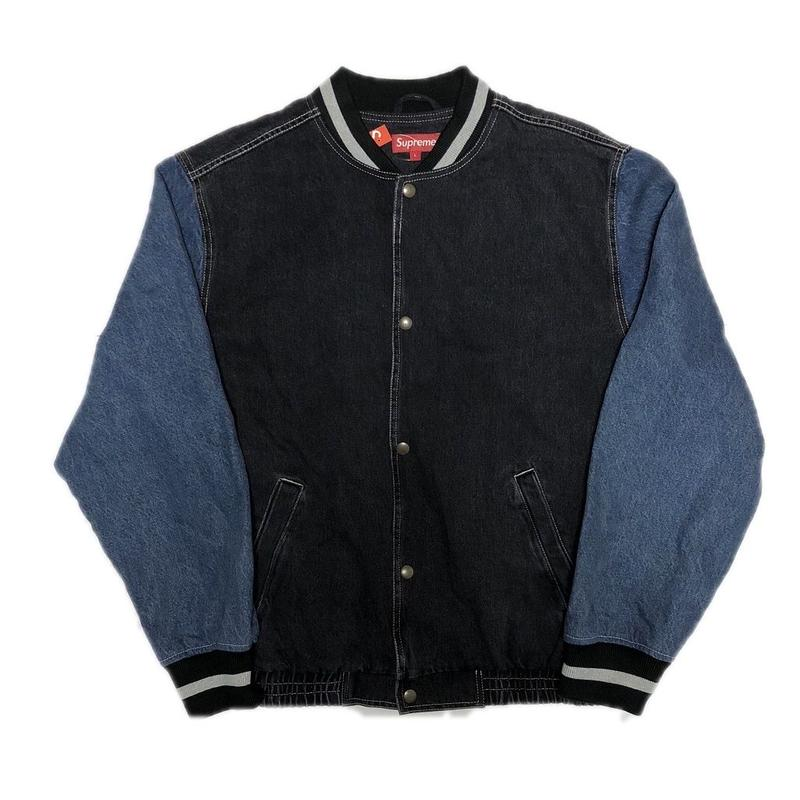 Supreme Denim Varsity Jacket Black L 18SS 【中古】