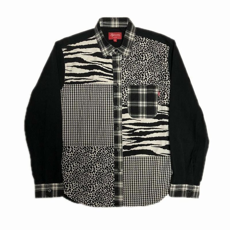 Supreme Animal Patchwork Twill Shirt Black S 16AW 【中古】