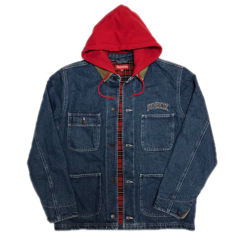 Supreme Hooded Chore Coat Blue M 17AW 【中古】