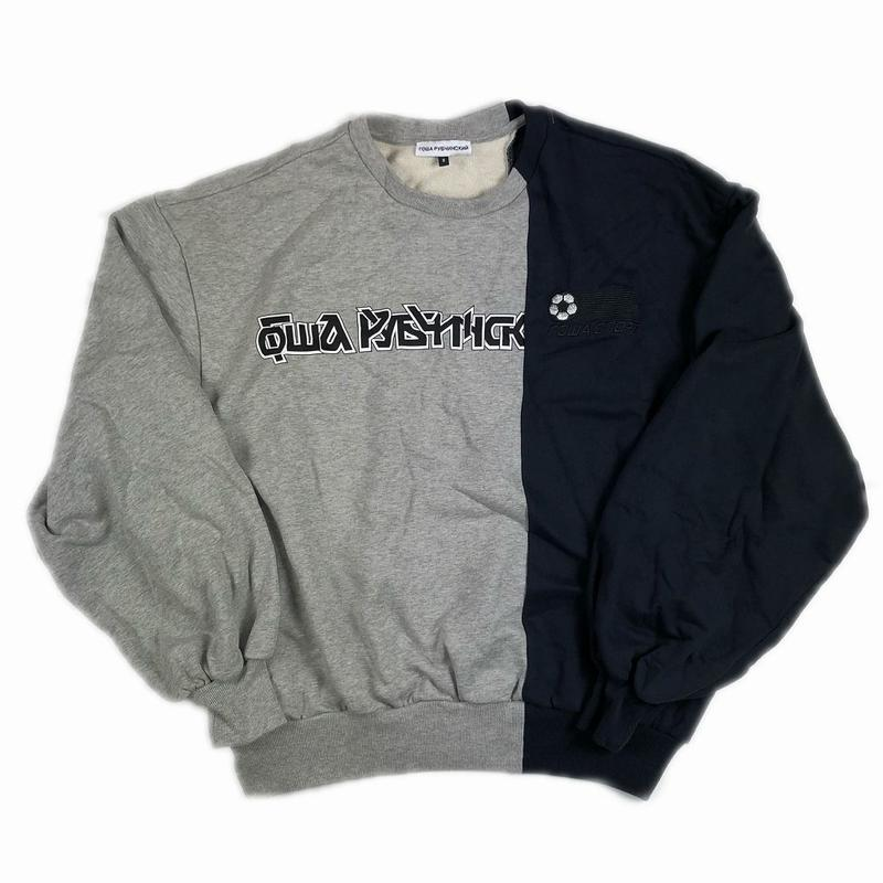 Gosha Rubchinskiy Split Sweat Shirt Navy Grey S 18SS 【中古】