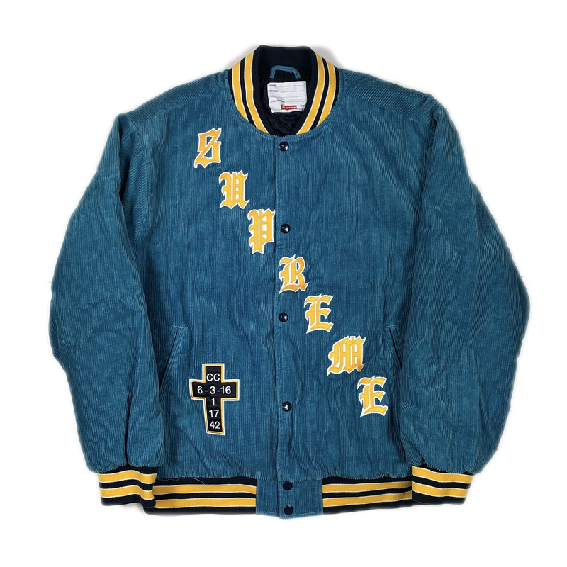 Supreme Old English Corduroy Varsity Jacket Blue L 18SS【中古】