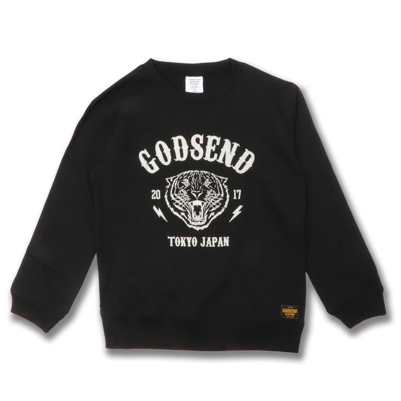 TIGER  PRINT  C/N  SWEAT  SHIRT タイガープリント  スウェットシャツ  BLACK