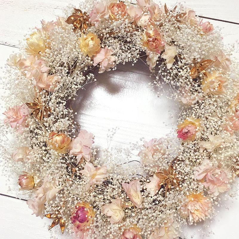 季節のドライフラワーをつかった特製リース「 Gold Wreath」