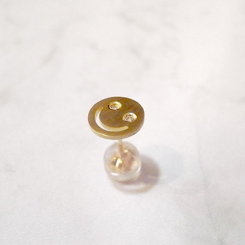 【KOMI】スマイル片耳ピアス K18 ダイヤモンド