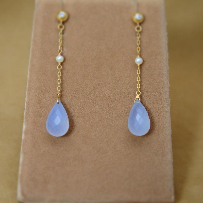 Blue Chalcedony Line Earrings
