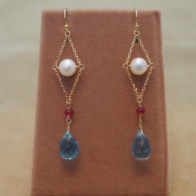 Swiss Blue Topaz&AKOYA Pearl Design Earrings