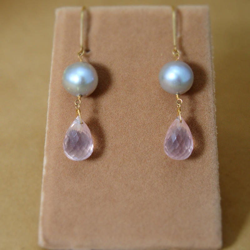 RoseQuartz&F.W.Pearl Earrings