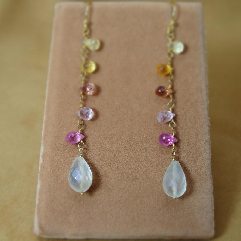 Multi Sapphire & Moonstone Earring