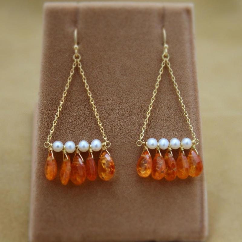 Orange Garnet Chandelier Earrings