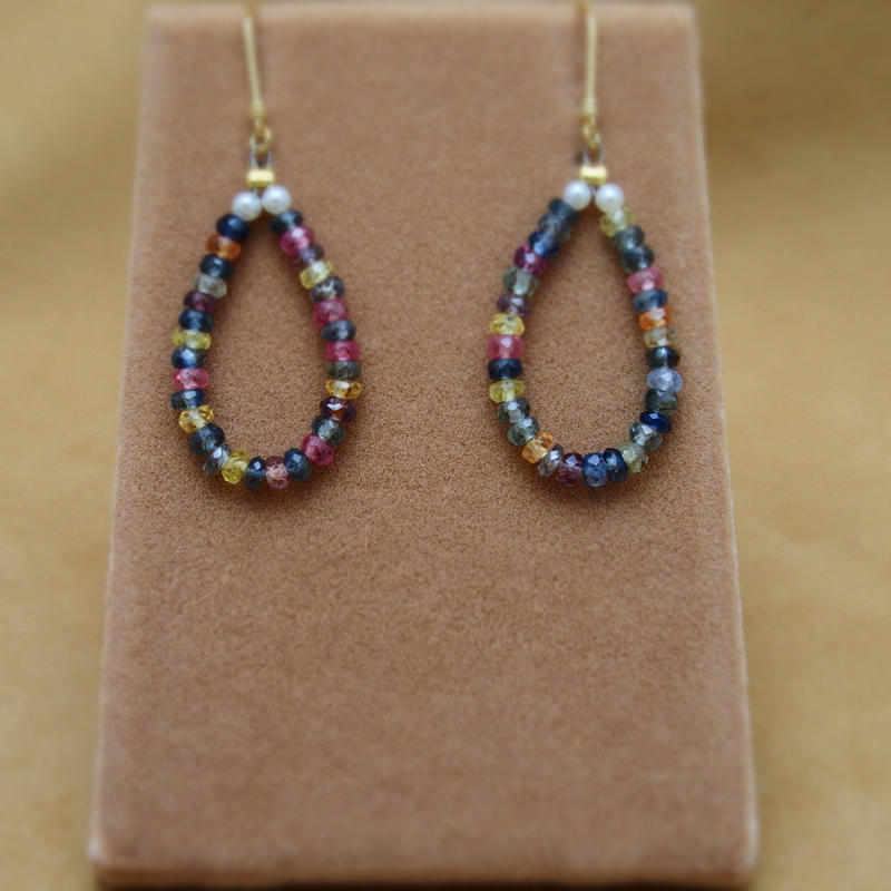 Multi Sapphire Drop Hoop Earrings
