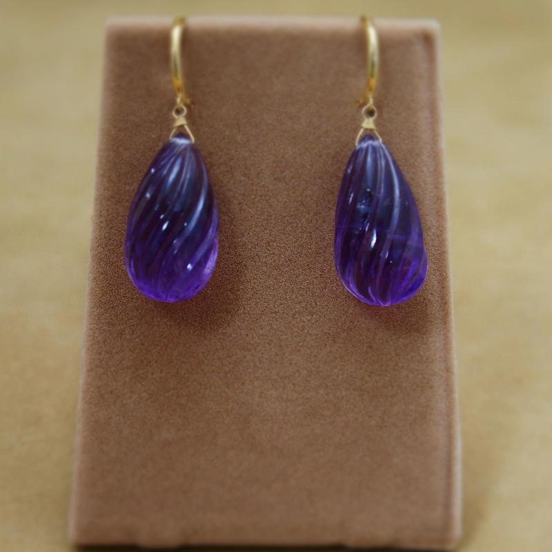 """Amethyst """"Shizuku""""Earrings(Carving)"""