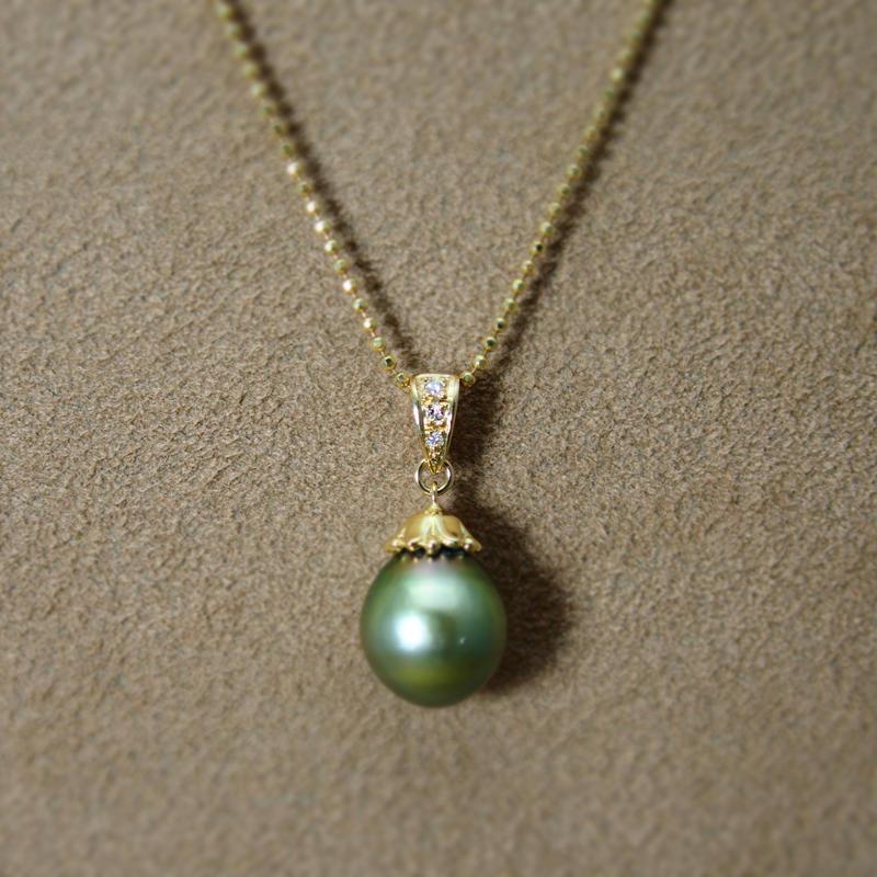 TahitianPearl PendantTop(+Diamond)Pistachio