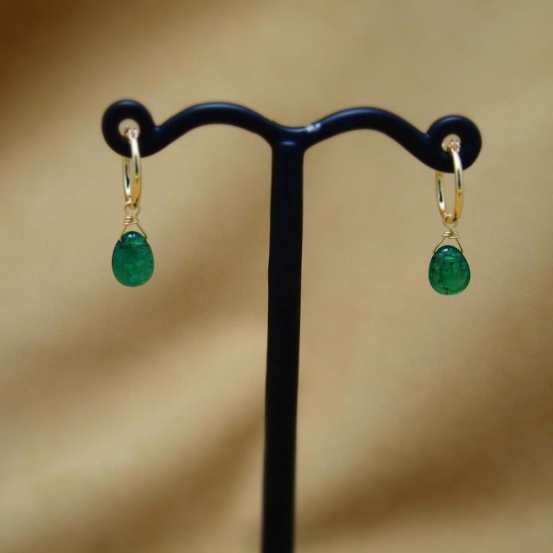 Emerald Simple Earrings(foop)