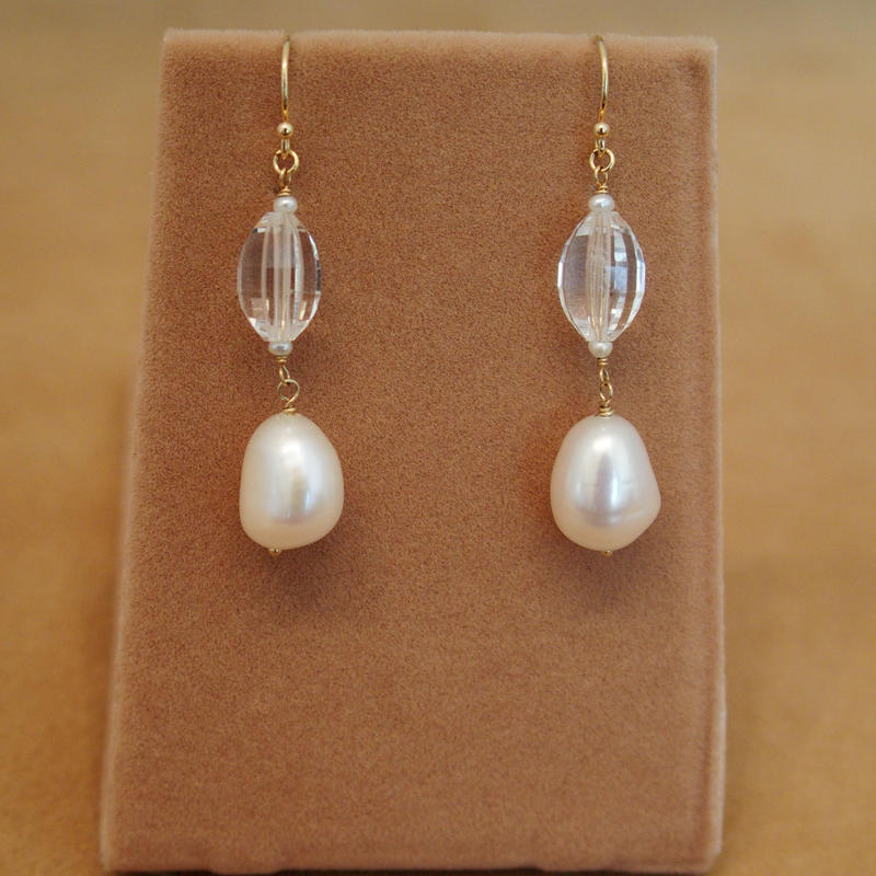 Quartz&F.W.Pearl Earrings