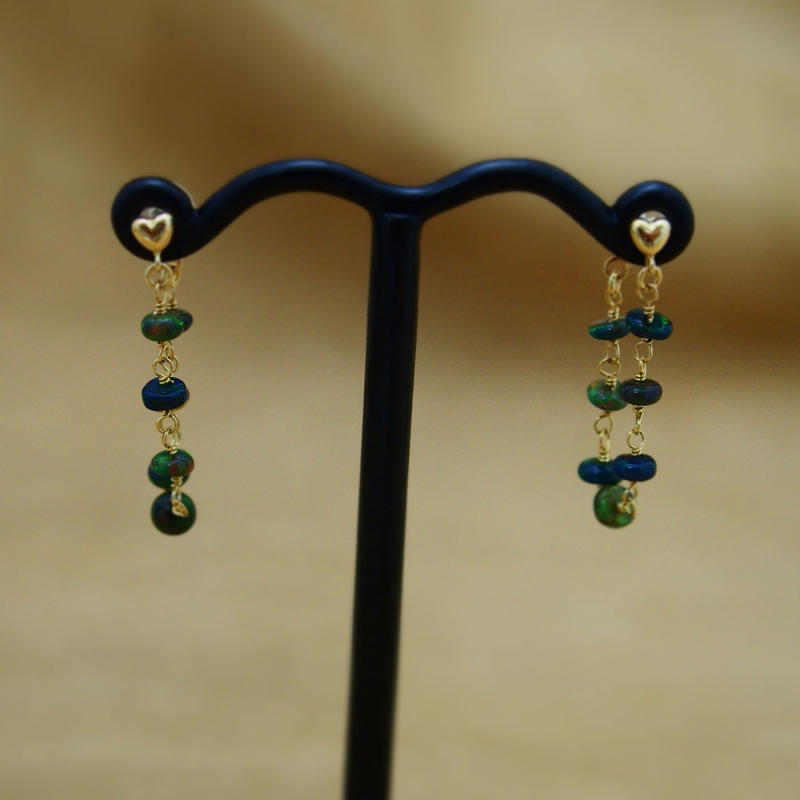Black Opal Loose Hoop Earrings