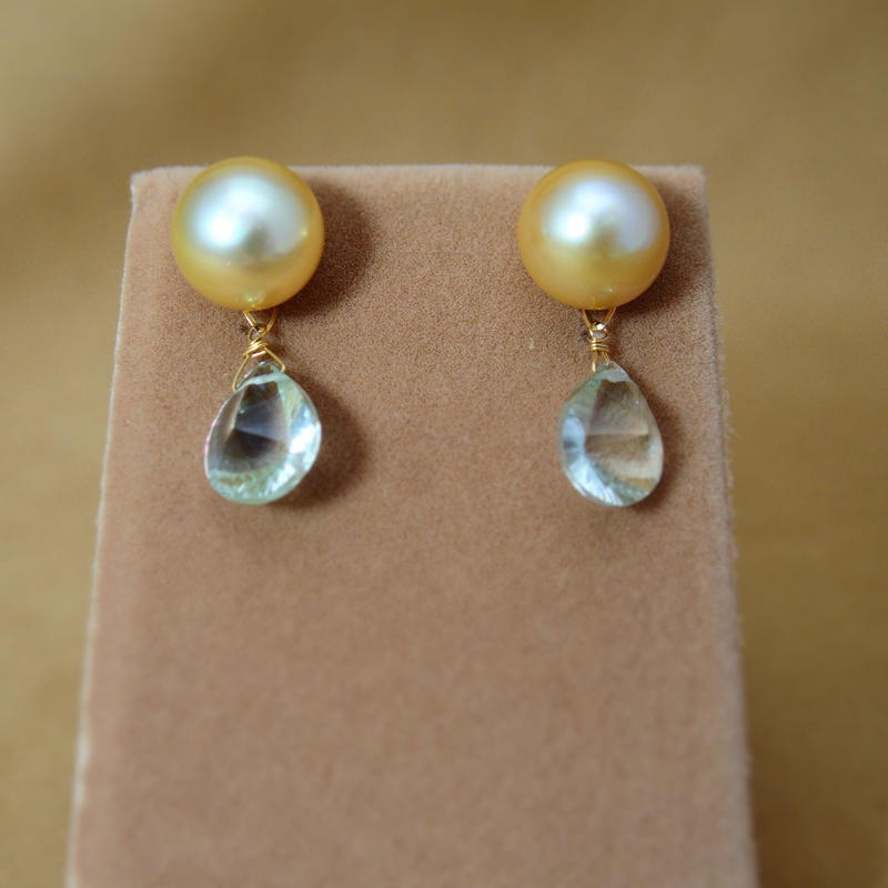 GoldenPearl Charm Earrings(GreenAmethyst)