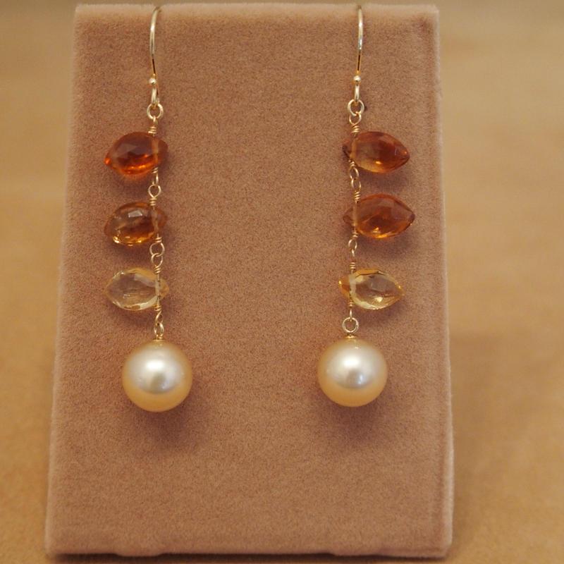 South Sea Golden Pearl&Citrine Earrings