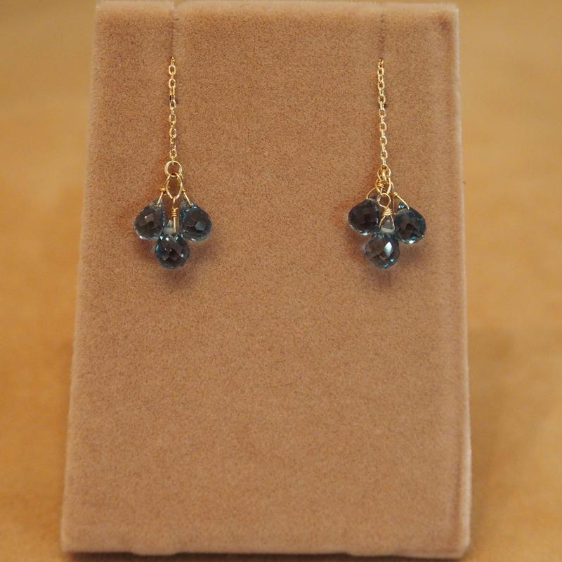 London Blue Topaz Chain Earrings