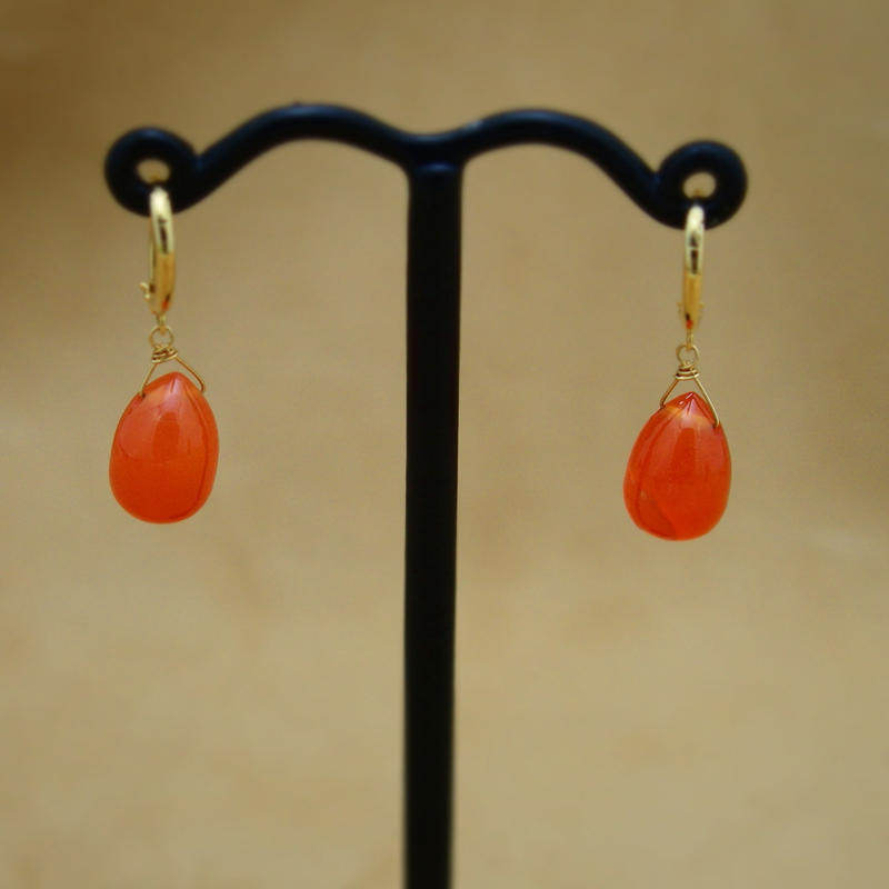"Carnerian ""shizuku"" Earrings"