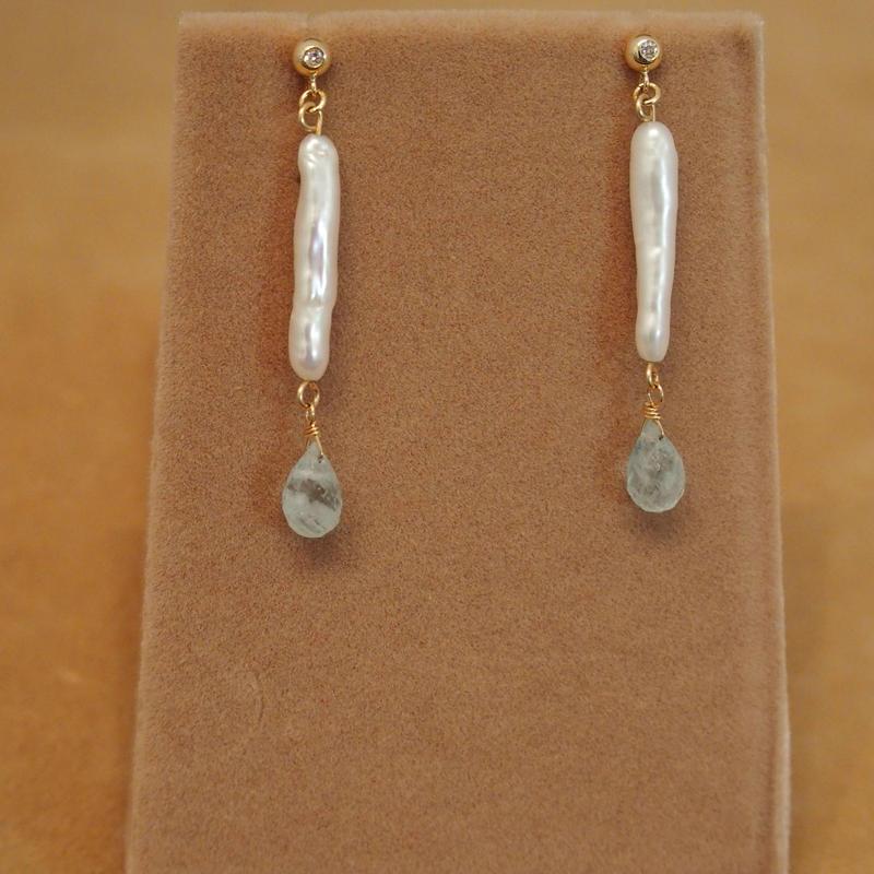 Milky Aquamarine&F.W.Pearl Earrings