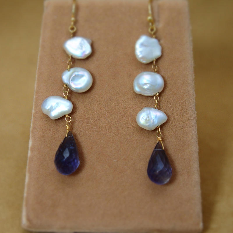 Iolite&FreshWaterPearl Long Earrings