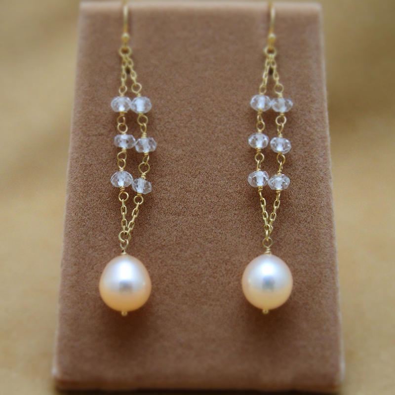 WhiteTopaz&F.W.Pearl Design Earrings