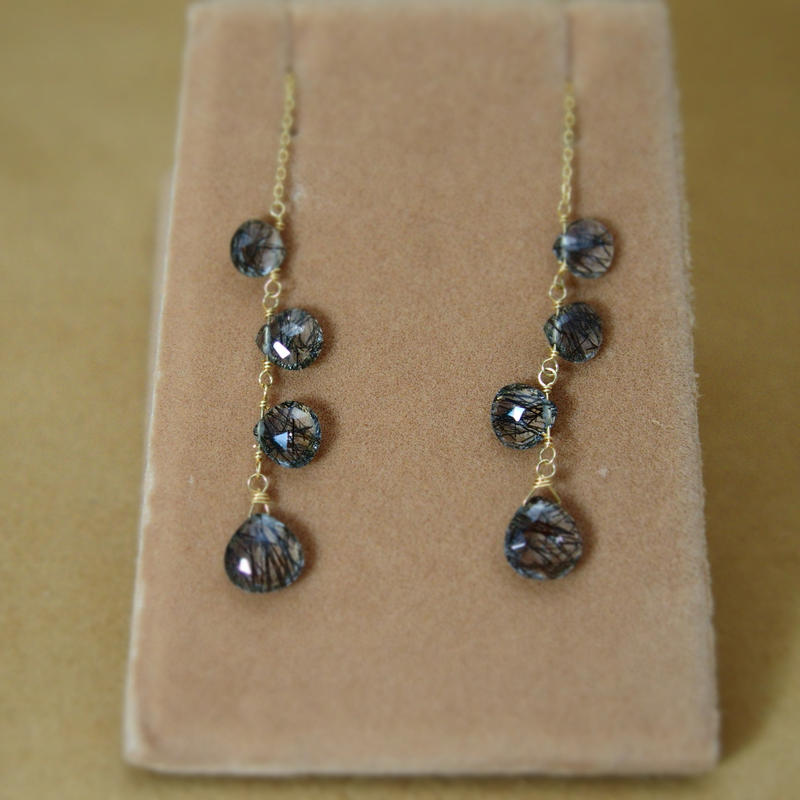BlackRutilatedQuartz Chain Earrings(m/c)