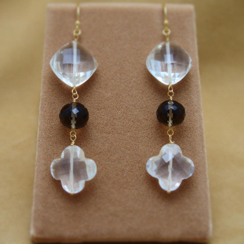 Quartz&SmokyQuartz Design Earrings