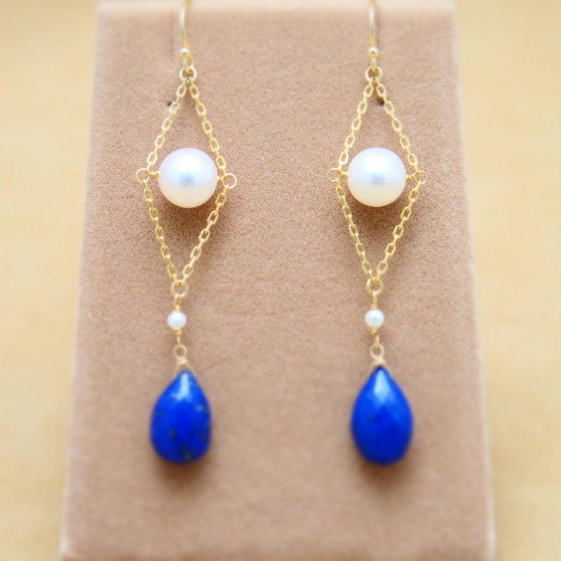 Lapis&AKOYA Pearl Design Earrings