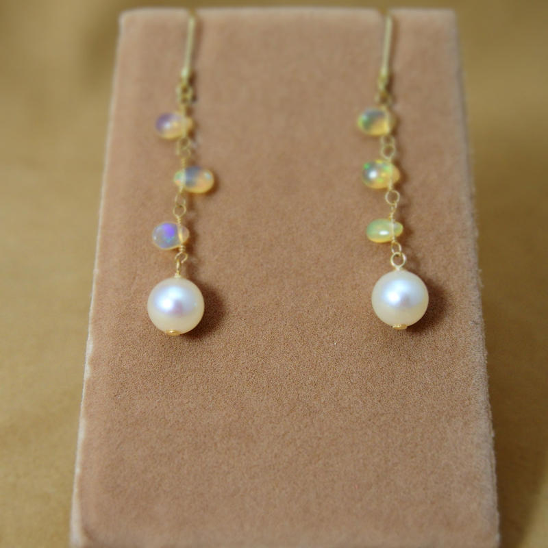 Opal&AkoyaPearl Earrings