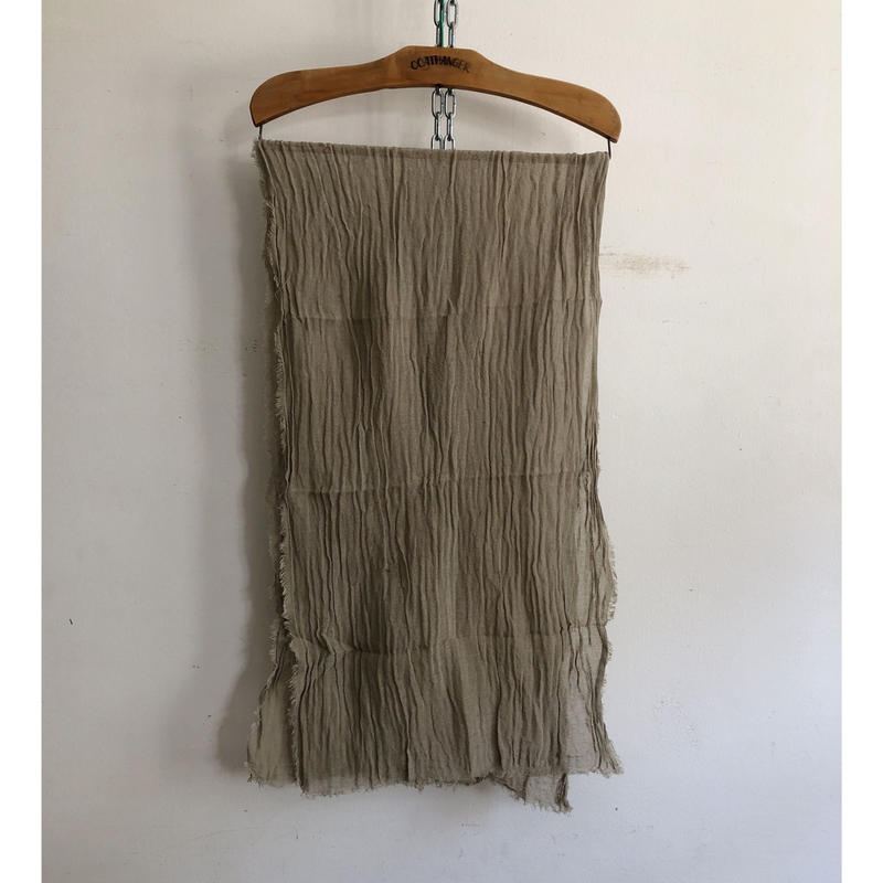 Sarah Simon French Natural Cotton Scarf Hand Made in France Khaki