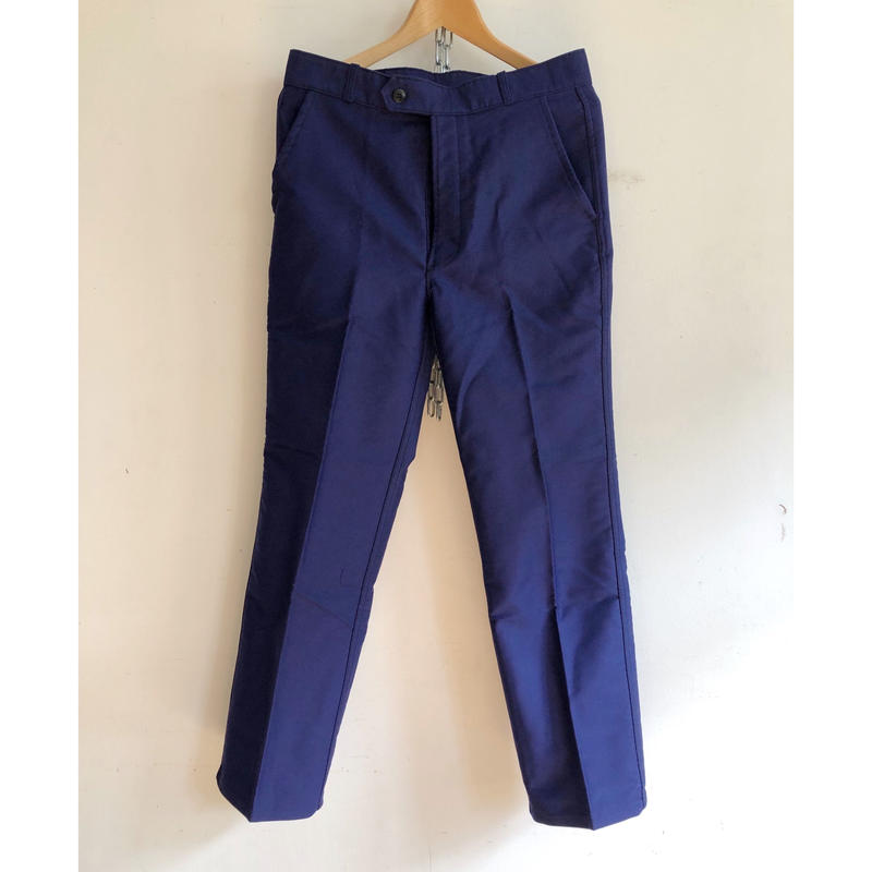 "Later 50's ""Molinel"" Ink Blue Moleskin Trousers Dead Stock"
