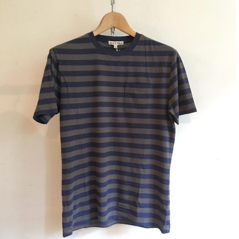 ALEX MILL Heather Stripe Tee Faded Black×Navy