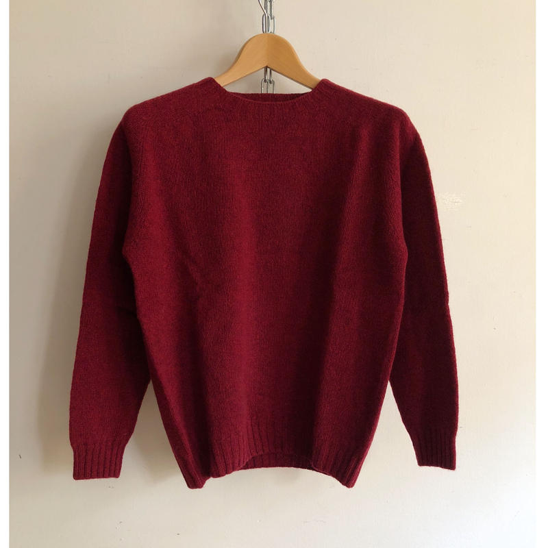 Harley of Scotland Crew Neck Shetlan Sweater Red Hot